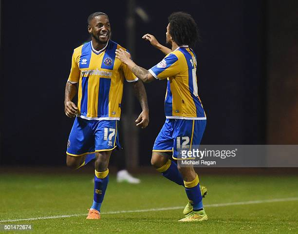 Abu Ogogo of Shrewsbury celebrates scoring the winning goal with Junior Brown during the The Emirates FA Cup Second Round Replay match between...