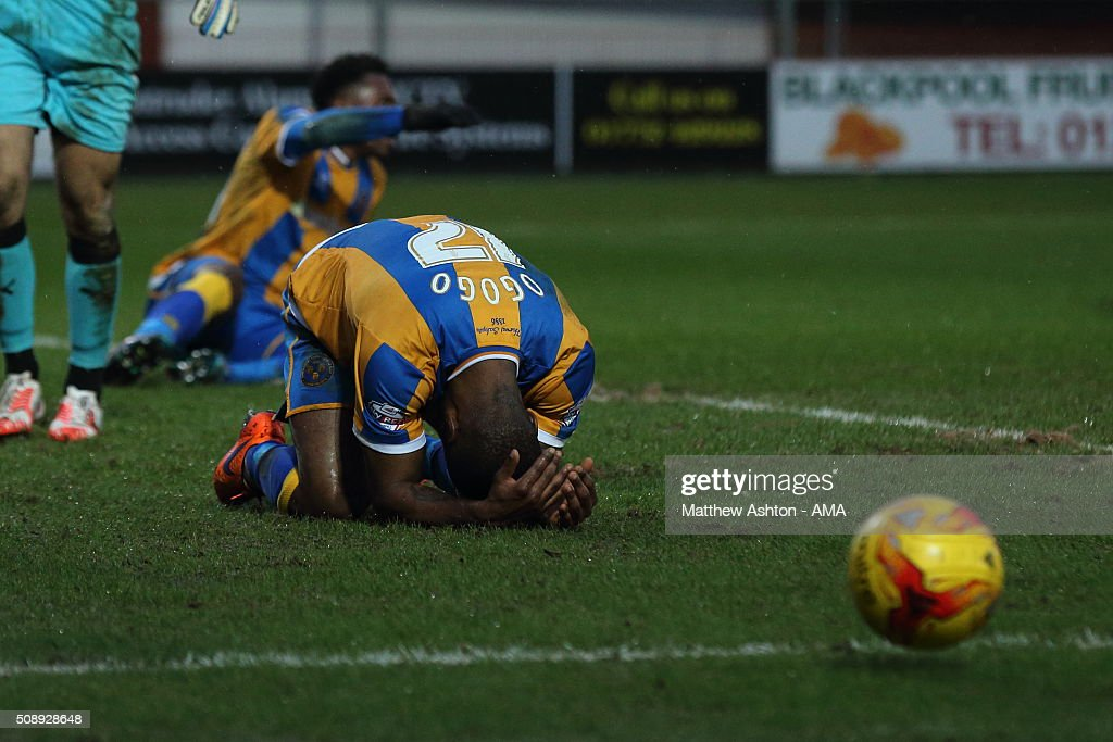 Abu Ogogo of Shrewsbury Town reacts after missing a chance to win the match in the second half during the Sky Bet League One match between Fleetwood Town and Shrewsbury Town at Highbury Stadium on February 7, 2016 in Fleetwood, England.