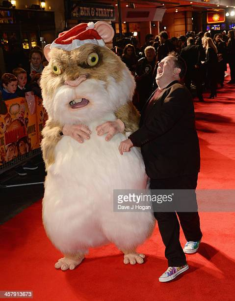 Abu the Hamster and Johnny Vegas attend 'The Harry Hill Movie' World Premiere at Vue Leicester Square on December 19 2013 in London England