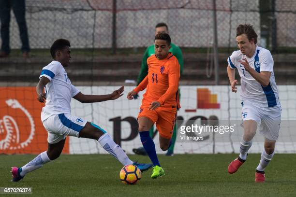 Abukar Mohamed of Finland U19 Justin Kluivert of Netherlands U19 Lassi Lappalainen of Finland U19during the UEFA EURO 2017 qualifying match between...