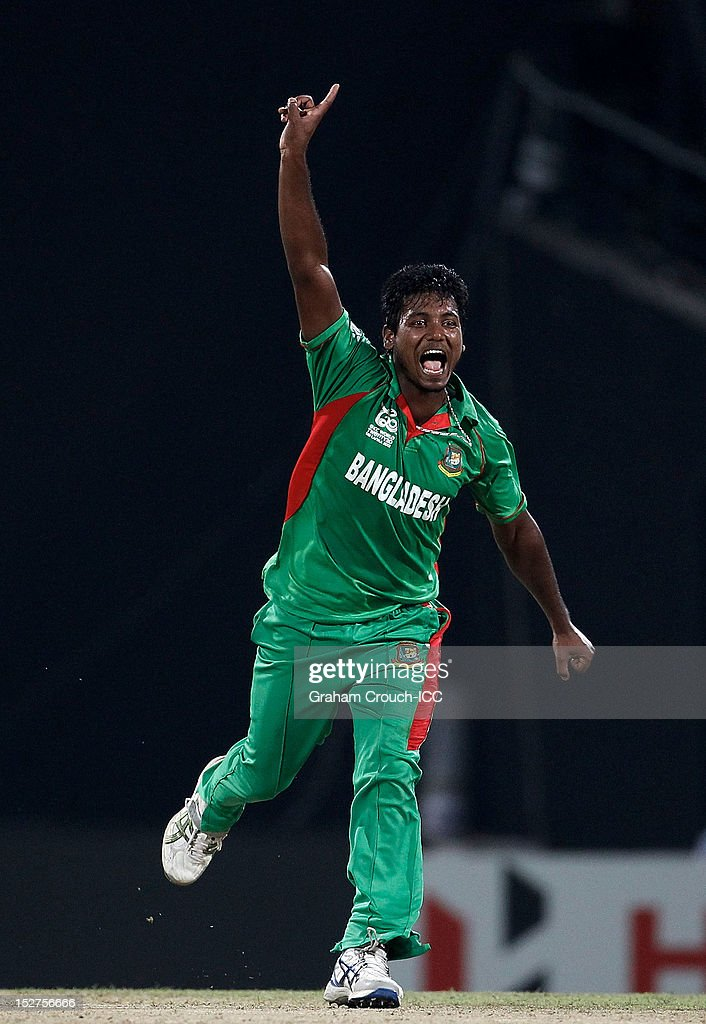 Abul Hasan of Bangladesh celebrates a wicket during the Group D match between Pakistan and Bangladesh at Pallekele Cricket Stadium on September 25, 2012 in Kandy, Sri Lanka.
