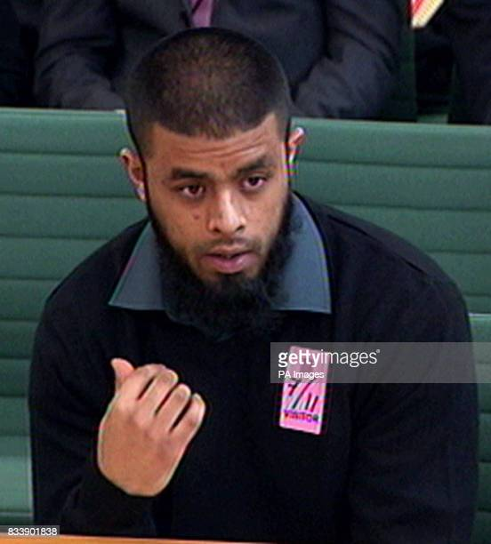 Abul Koyair one of the two brothers arrested in the infamous Forest Gate terror raid gives evidence at a Home Affairs Select Committee inquiry in the...