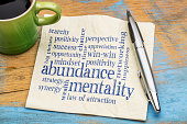 abundance mentality word cloud - handwriting on a napkin with a cup of coffee