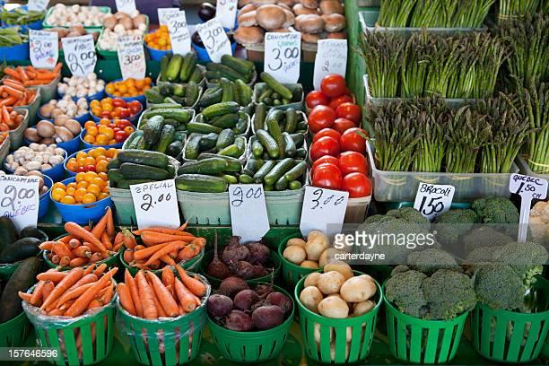 Abundant fresh produce at a farmers market