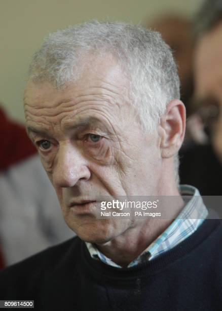 Abuse survivor John O'Donnell confronts Bishop of Raphoe Philip Boyce during a press conference at the Diocesan Pastoral Centre Hall in Letterkenny...