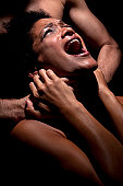 Young hispanic woman being abused and raped.