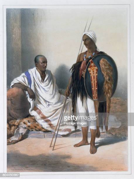 Abyssinian priest and warrior 1848 Illustration from The Valley of the Nile by Emile Prisse d'Avennes Artist Lemoine