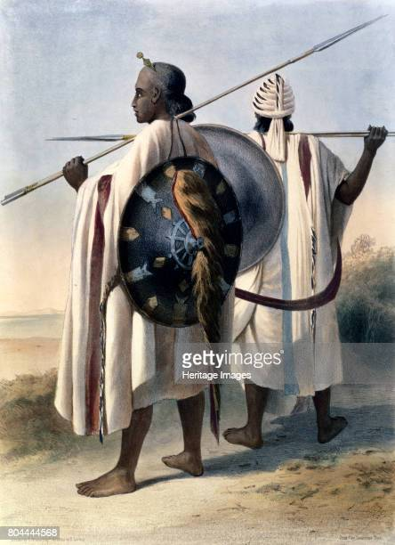 Abyssinian warriors 1848 Illustration from The Valley of the Nile by Emile Prisse d'Avennes 1848 Artist Eugene Leroux
