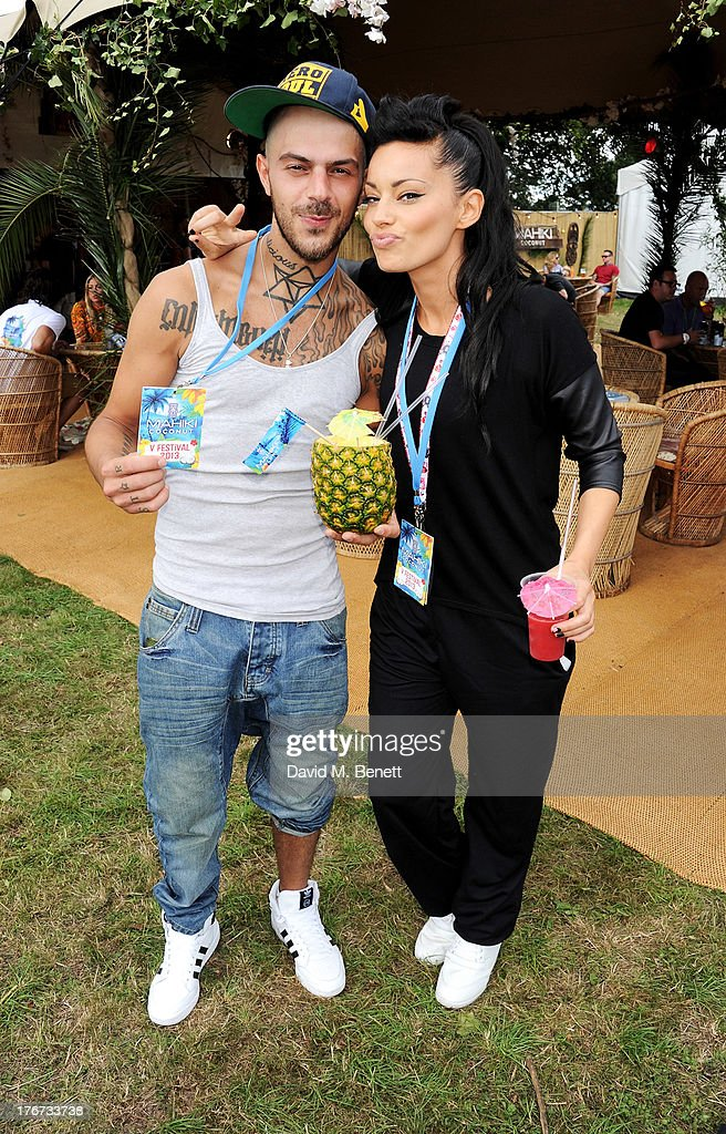 Abz Love of '5ive' (L) and Vicky Fallon attend the Mahiki Coconut Backstage Bar during day 2 of V Festival 2013 at Hylands Park on August 18, 2013 in Chelmsford, England.
