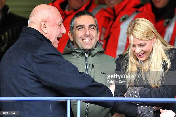 Ac Milan Managing director Adriano Galliani speaks with Barbara Berlusconi the daufhter of Italy's Prime Minister Silvio Berlusconi during the Serie...