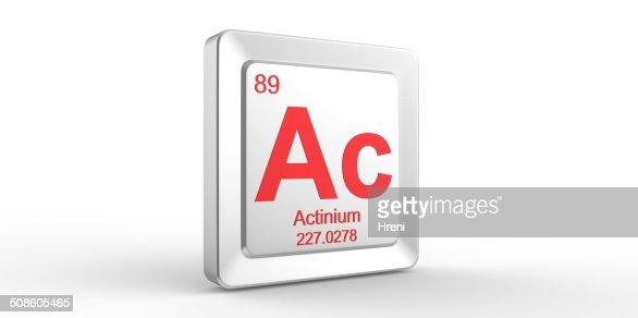 Ac symbol 89 material for Actinium chemical element : Stock Photo