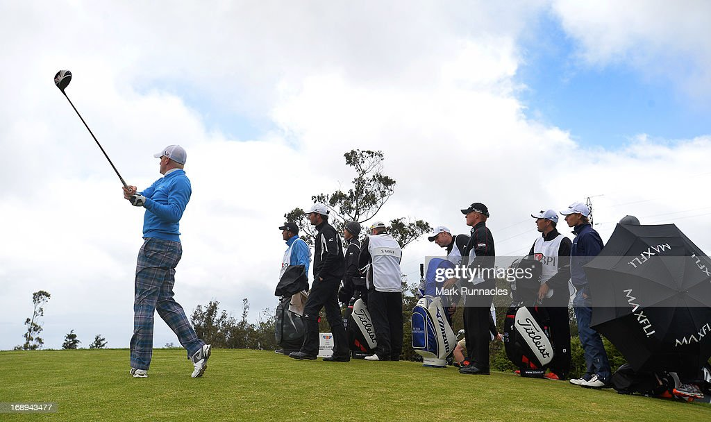Ac5tion on the congested 11th tee after the rain delay during Day Two of the Madeira Islands Open - Portugal - BPI at Club de Golf do Santo da Serra on May 17, 2013 in Funchal, Madeira, Portugal.