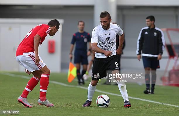Academica de Viseu's defender Tiago Costa in action during the Primeira Liga match between SL Benfiva II and Academica de Viseu at Caixa Futebol...