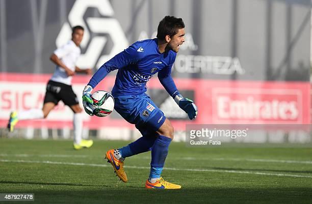 Academica de Viseu's goalkeeper Ricardo Janota in action during the Primeira Liga match between SL Benfiva II and Academica de Viseu at Caixa Futebol...