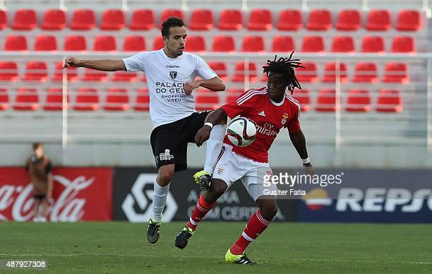 Academica de Viseu's midfielder Romeu Ribeiro with SL Benfica II's midfielder Renato Sanches in action during the Primeira Liga match between SL...