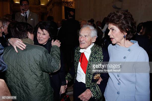 Academician Count Jean d'Ormesson standing between his wife Countess Francoise d'Ormesson and his Sister in law attend Marc Lambron becomes a Member...