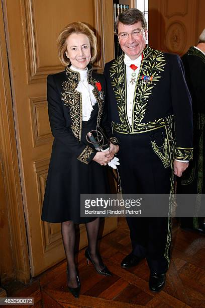 Academician Dominique Bona and Xavier Darcos who becomes a Member of the Academie Francaise Official Ceremony at Academie Francaise on February 12...