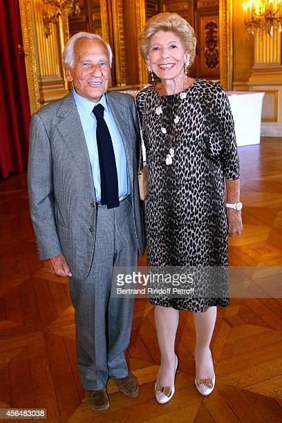 Academician Jean D'Ormesson and Permanent Secretary of 'Academie Francaise' Helene Carrere d'Encausse attend Xavier Darcos receives 'L'Epee...