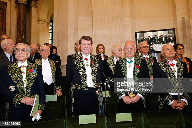 Academicians and Xavier Darcos who becomes a Member of the Academie Francaise Official Ceremony at Academie Francaise on February 12 2015 in Paris...