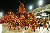 Academicos do Salgueiro participates in the parade on the Sambodromo during Rio Carnival on February 15 2015 in Rio de Janeiro Brazil