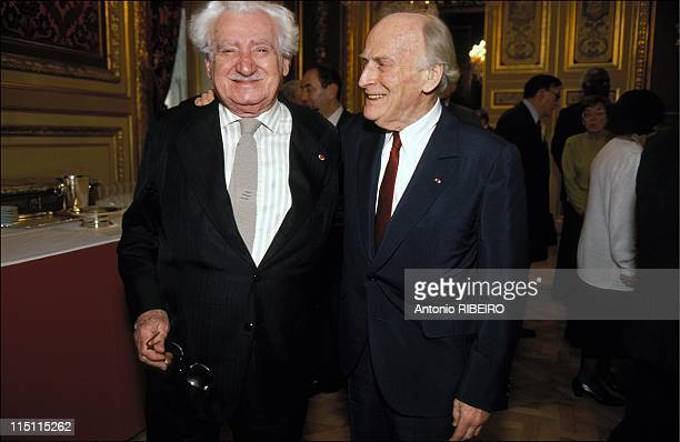 'Academie Universelle des Cultures' at Louvre in Paris France on January 29 1993 Jorge Amado and Yehudi Menuhin