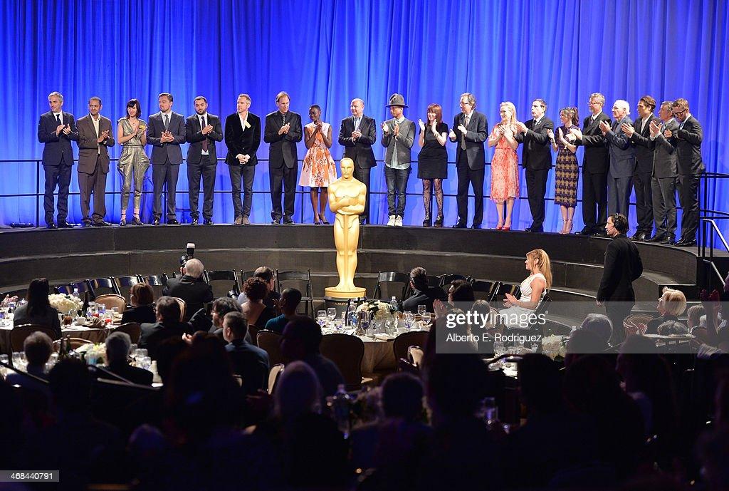 Academy Award nominees including Director/writer Alfonso Cuarón singer Karen O actor Leonardo DiCaprio Lupita Nyong'o David Heyman Chris Meledandri...