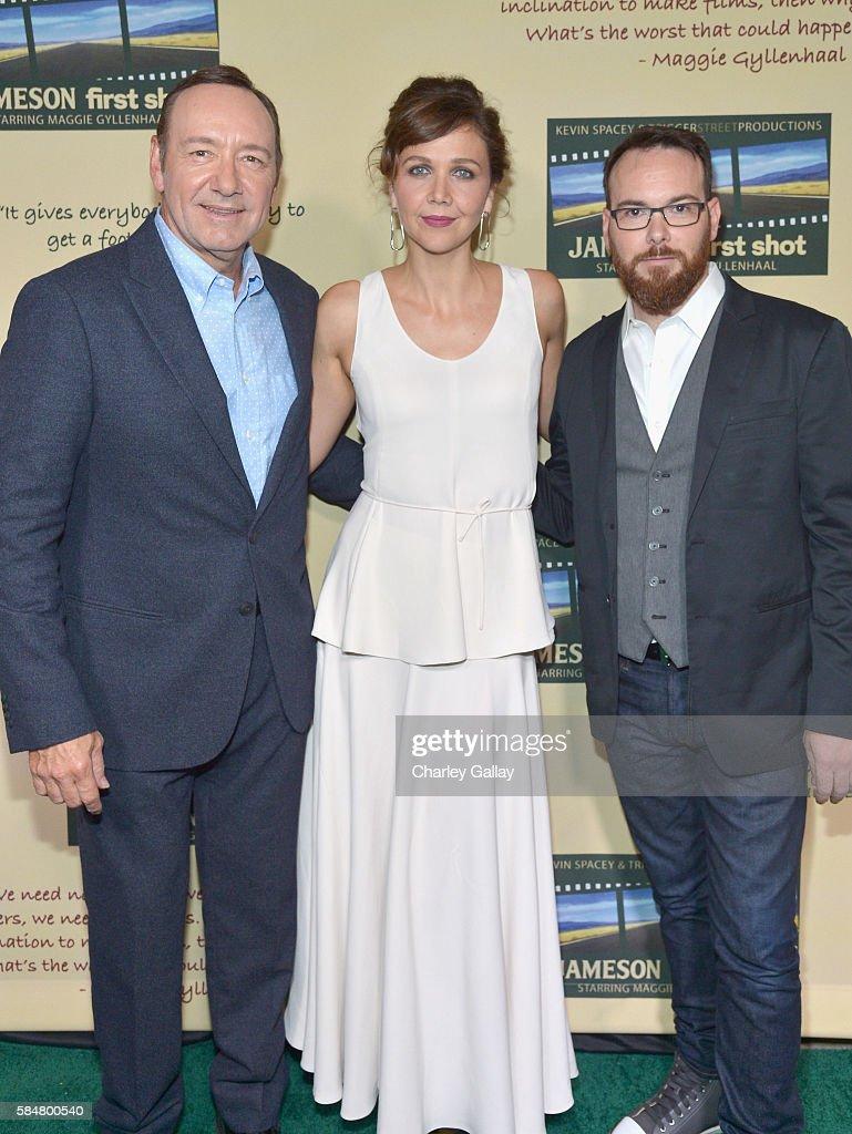 Academy Award winner Kevin Spacey Golden Globe winner Maggie Gyllenhaal and award winning film producer Dana Brunetti celebrated the Jameson First...
