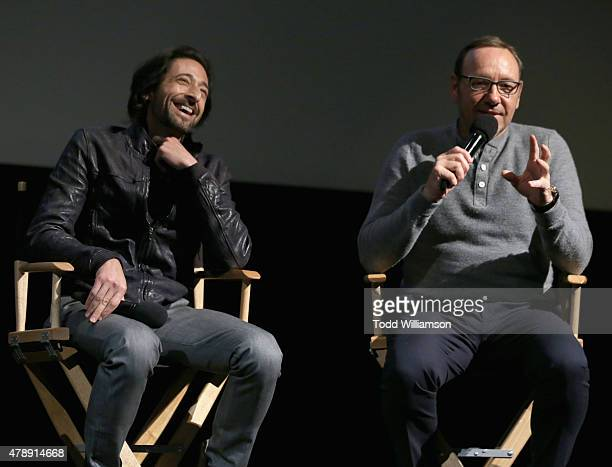 Academy Award winners Adrien Brody and Kevin Spacey speak onstage at the Jameson First Shot short film competition at Paramount Pictures Studios on...