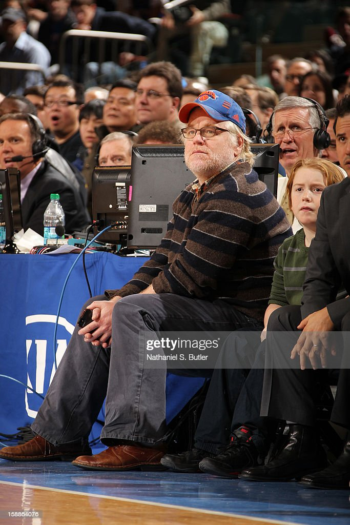 Academy Award Winning Actor Philip Seymour Hoffman watches the New York Knicks play the Portland Trail Blazers on January 1, 2013 at Madison Square Garden in New York City.