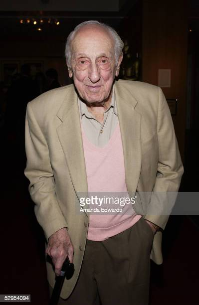 Academy Award winning composerlyricist Ray Evans arrives at the AMPAS Centennial Tribute to composer Harold Arlen at the Academy of Motion Picture...