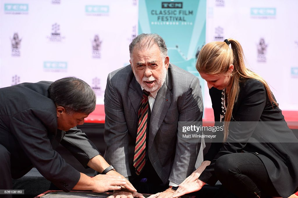 Academy Award winning filmmaker <a gi-track='captionPersonalityLinkClicked' href=/galleries/search?phrase=Francis+Ford+Coppola&family=editorial&specificpeople=204241 ng-click='$event.stopPropagation()'>Francis Ford Coppola</a> applies his handprint as TCM honors him with a Hand/Footprint Ceremony at TCL Chinese Theatre IMAX on April 29, 2016 in Hollywood, California.
