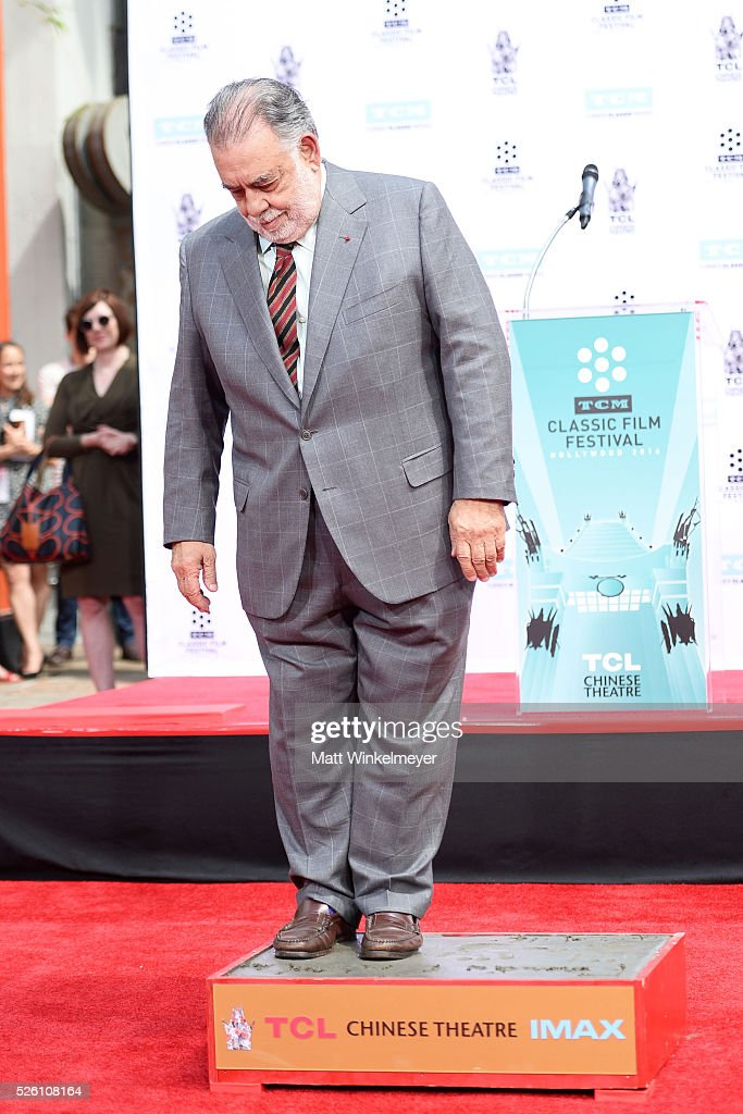 Academy Award winning filmmaker <a gi-track='captionPersonalityLinkClicked' href=/galleries/search?phrase=Francis+Ford+Coppola&family=editorial&specificpeople=204241 ng-click='$event.stopPropagation()'>Francis Ford Coppola</a> applies his footprint as TCM honors him with a Hand/Footprint Ceremony at TCL Chinese Theatre IMAX on April 29, 2016 in Hollywood, California.
