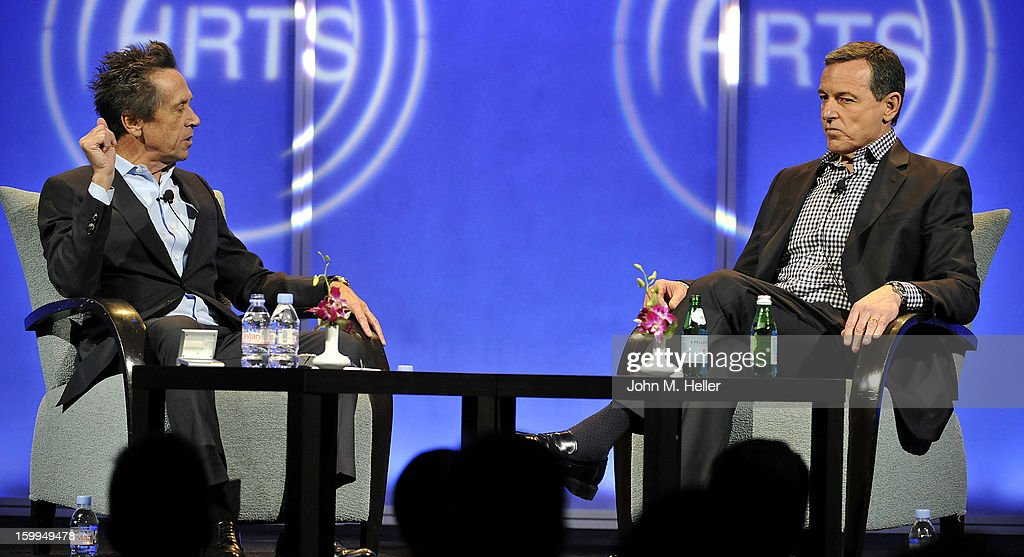 Academy Award Winning Producer And Co-Chairman of Imagine Entertainment Brian Grazer interviews Chairman of The Board and Chief Executive Officer Of The Walt Disney Company Robert A. Iger at the Hollywood Radio & Television Society Newsmakers Luncheon Series at The Beverly Hilton Hotel on January 23, 2013 in Beverly Hills, California.