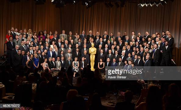 Academy Awards Nominees including actors Michael Keaton Eddie Redmayne JK Simmons Julianne Moore Emma Stone Ellar Coltrane Laura Dern Reese...