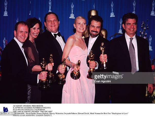 Pressroom E347905 011 03/21/99 Los Angeles California The 1999 Academy Awards 'The Oscars' Pressroom David Parfitt Donna Gigliotti Harvey Weinstein...
