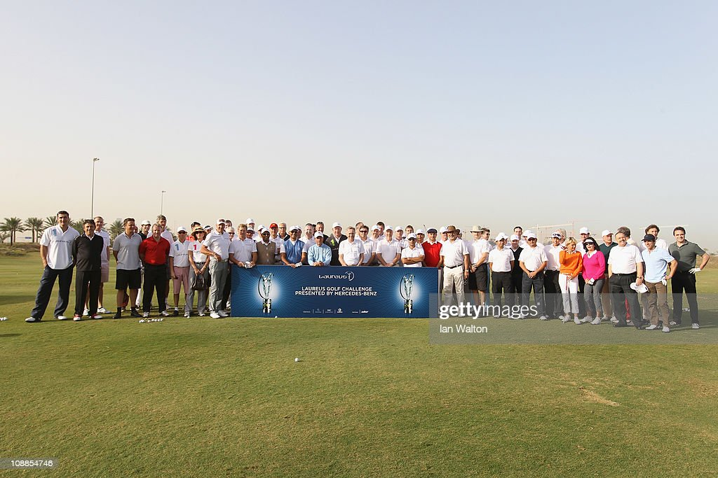 Academy Members including Gary Player,Boris Becker, Sir Bobby Charlton, Sean Fitzpatrick and Steve Waugh pose before taking part in the Laureus Golf Challenge at the Saadiyat Beach Golf Club part of the 2011 Laureus World Sports Awards on February 6, 2011 in Abu Dhabi, United Arab Emirates.