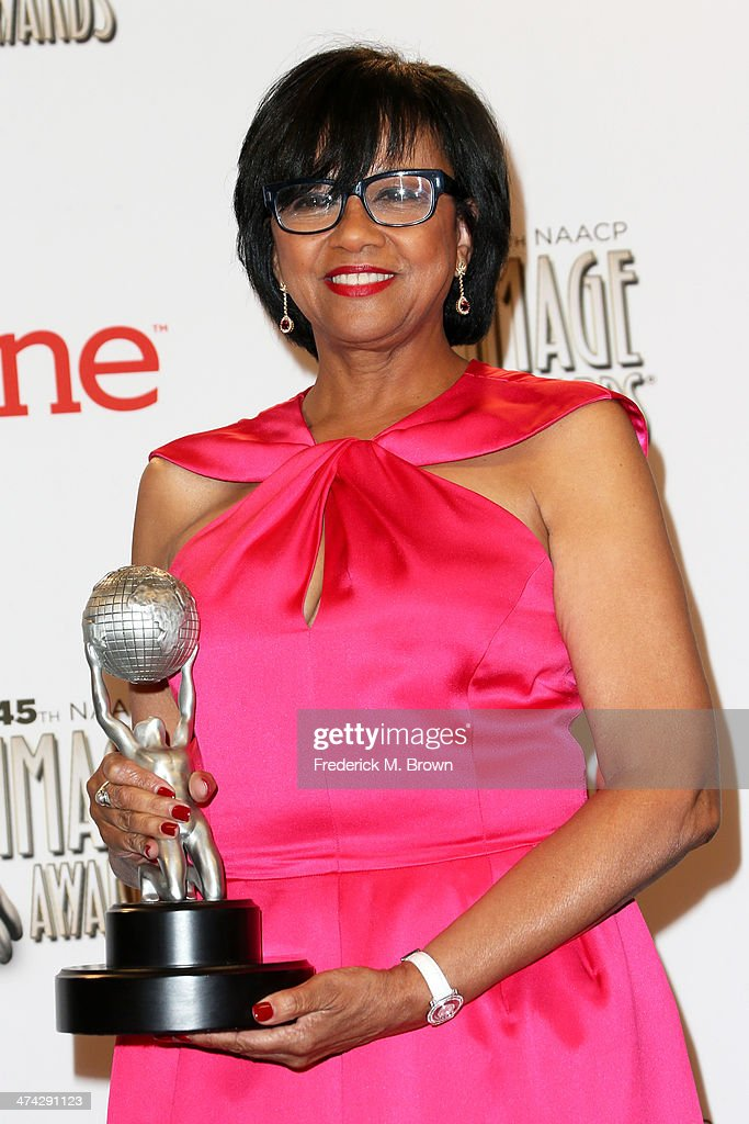 Academy of Motion Picture Arts and Sciences President <a gi-track='captionPersonalityLinkClicked' href=/galleries/search?phrase=Cheryl+Boone+Isaacs&family=editorial&specificpeople=725500 ng-click='$event.stopPropagation()'>Cheryl Boone Isaacs</a>, NAACP Hall of Fame honoree, poses in the press room during the 45th NAACP Image Awards presented by TV One at Pasadena Civic Auditorium on February 22, 2014 in Pasadena, California.
