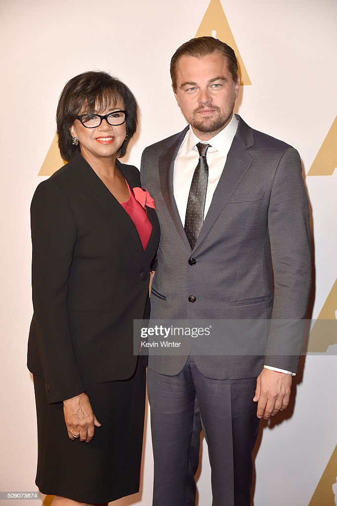 Academy of Motion Picture Arts and Sciences President <a gi-track='captionPersonalityLinkClicked' href=/galleries/search?phrase=Cheryl+Boone+Isaacs&family=editorial&specificpeople=725500 ng-click='$event.stopPropagation()'>Cheryl Boone Isaacs</a> (L) and actor <a gi-track='captionPersonalityLinkClicked' href=/galleries/search?phrase=Leonardo+DiCaprio&family=editorial&specificpeople=201635 ng-click='$event.stopPropagation()'>Leonardo DiCaprio</a> attend the 88th Annual Academy Awards nominee luncheon on February 8, 2016 in Beverly Hills, California.