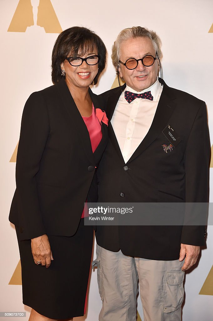 Academy of Motion Picture Arts and Sciences President <a gi-track='captionPersonalityLinkClicked' href=/galleries/search?phrase=Cheryl+Boone+Isaacs&family=editorial&specificpeople=725500 ng-click='$event.stopPropagation()'>Cheryl Boone Isaacs</a> (L) and director <a gi-track='captionPersonalityLinkClicked' href=/galleries/search?phrase=George+Miller+-+Film+Director&family=editorial&specificpeople=13488524 ng-click='$event.stopPropagation()'>George Miller</a> attend the 88th Annual Academy Awards nominee luncheon on February 8, 2016 in Beverly Hills, California.