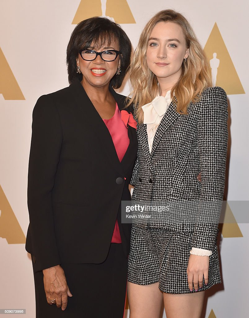 Academy of Motion Picture Arts and Sciences President Cheryl Boone Isaacs (L) and actress Saoirse Ronan attend the 88th Annual Academy Awards nominee luncheon on February 8, 2016 in Beverly Hills, California.