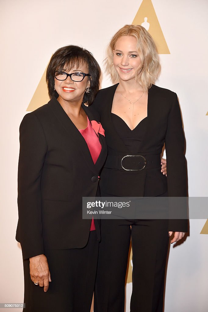 Academy of Motion Picture Arts and Sciences President <a gi-track='captionPersonalityLinkClicked' href=/galleries/search?phrase=Cheryl+Boone+Isaacs&family=editorial&specificpeople=725500 ng-click='$event.stopPropagation()'>Cheryl Boone Isaacs</a> (L) and actress <a gi-track='captionPersonalityLinkClicked' href=/galleries/search?phrase=Jennifer+Lawrence&family=editorial&specificpeople=1596040 ng-click='$event.stopPropagation()'>Jennifer Lawrence</a> attend the 88th Annual Academy Awards nominee luncheon on February 8, 2016 in Beverly Hills, California.