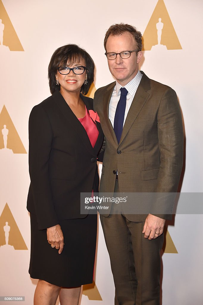 Academy of Motion Picture Arts and Sciences President <a gi-track='captionPersonalityLinkClicked' href=/galleries/search?phrase=Cheryl+Boone+Isaacs&family=editorial&specificpeople=725500 ng-click='$event.stopPropagation()'>Cheryl Boone Isaacs</a> (L) and director Tom McCarthy attend the 88th Annual Academy Awards nominee luncheon on February 8, 2016 in Beverly Hills, California.