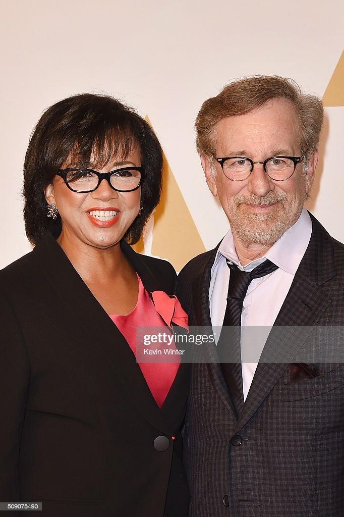 Academy of Motion Picture Arts and Sciences President Cheryl Boone Isaacs (L) and director Steven Spielberg attend the 88th Annual Academy Awards nominee luncheon on February 8, 2016 in Beverly Hills, California.