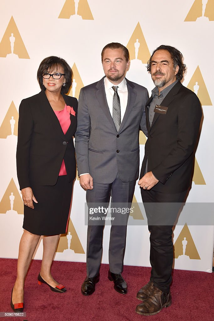 Academy of Motion Picture Arts and Sciences President <a gi-track='captionPersonalityLinkClicked' href=/galleries/search?phrase=Cheryl+Boone+Isaacs&family=editorial&specificpeople=725500 ng-click='$event.stopPropagation()'>Cheryl Boone Isaacs</a>, actor <a gi-track='captionPersonalityLinkClicked' href=/galleries/search?phrase=Leonardo+DiCaprio&family=editorial&specificpeople=201635 ng-click='$event.stopPropagation()'>Leonardo DiCaprio</a> and director Alejandro Gonzalez Inarritu attend the 88th Annual Academy Awards nominee luncheon on February 8, 2016 in Beverly Hills, California.