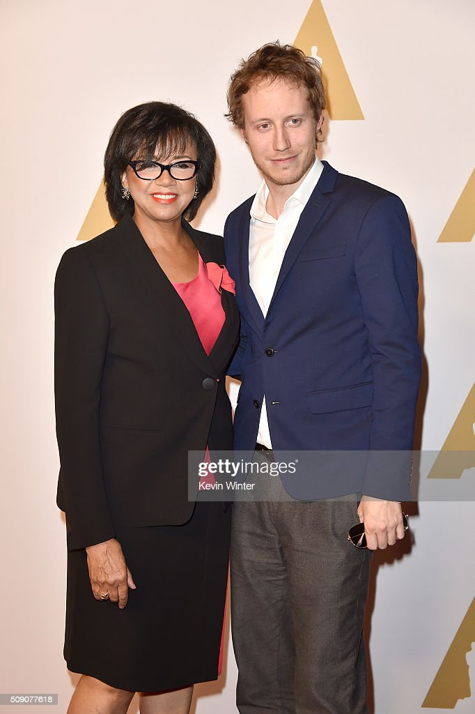 Academy of Motion Picture Arts and Sciences President <a gi-track='captionPersonalityLinkClicked' href=/galleries/search?phrase=Cheryl+Boone+Isaacs&family=editorial&specificpeople=725500 ng-click='$event.stopPropagation()'>Cheryl Boone Isaacs</a> (L) and director Laszlo Nemes attend the 88th Annual Academy Awards nominee luncheon on February 8, 2016 in Beverly Hills, California.