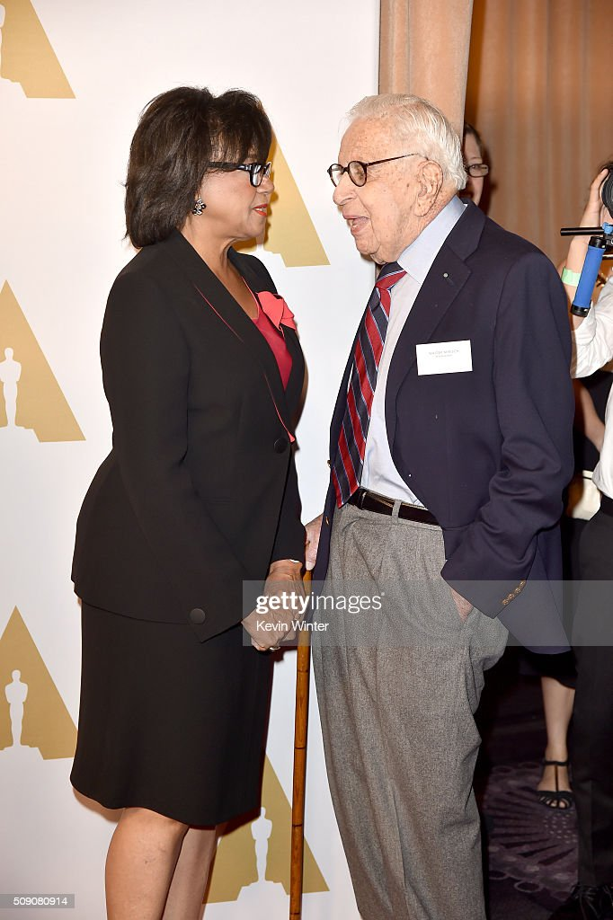 Academy of Motion Picture Arts and Sciences President <a gi-track='captionPersonalityLinkClicked' href=/galleries/search?phrase=Cheryl+Boone+Isaacs&family=editorial&specificpeople=725500 ng-click='$event.stopPropagation()'>Cheryl Boone Isaacs</a> (L) and producer <a gi-track='captionPersonalityLinkClicked' href=/galleries/search?phrase=Walter+Mirisch&family=editorial&specificpeople=1302100 ng-click='$event.stopPropagation()'>Walter Mirisch</a> attend the 88th Annual Academy Awards nominee luncheon on February 8, 2016 in Beverly Hills, California.