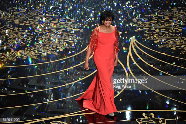 Academy of Motion Picture Arts and Sciences President Cheryl Boone Isaacs speaks onstage during the 88th Annual Academy Awards at the Dolby Theatre...