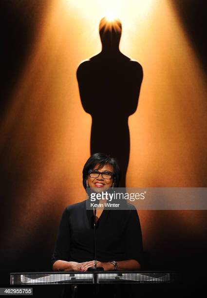 Academy President Cheryl Boone Isaacs announces the nominees at the 86th Academy Awards Nominations Announcement at the AMPAS Samuel Goldwyn Theater...