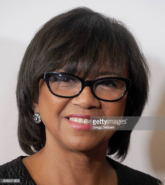 Academy President Cheryl Boone Isaacs arrives at the 27th Annual Producers Guild Awards at the Hyatt Regency Century Plaza on January 23 2016 in...
