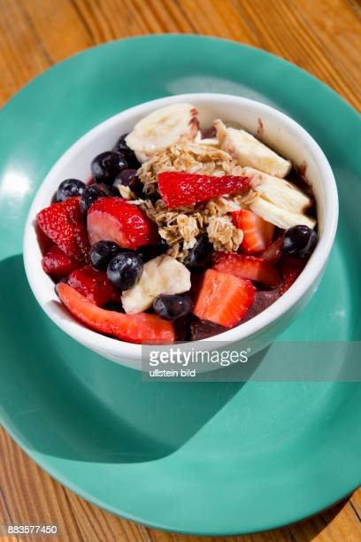 Acai bowl with banana and strawberries at a cafe in Pacific Beach